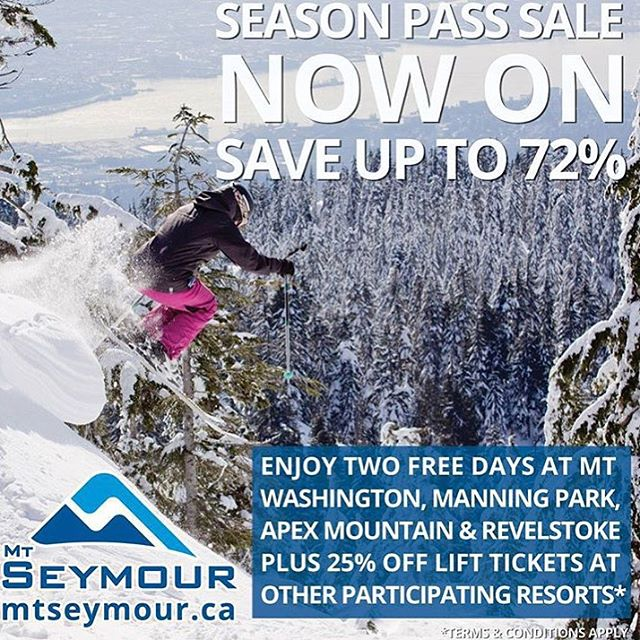 @mtseymour Early Bird passes now on sale! Save up to 72% off your pass. Check www.mountseymour.com for details. #WinterIsComing #MtSeymour #CSTLwinter