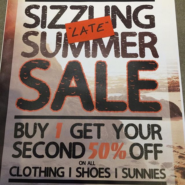 All clothing, shoes and sunglasses are buy one get another 50% off!! And you may mix and match if you want clothes and sunnies or shoes and clothes ect.