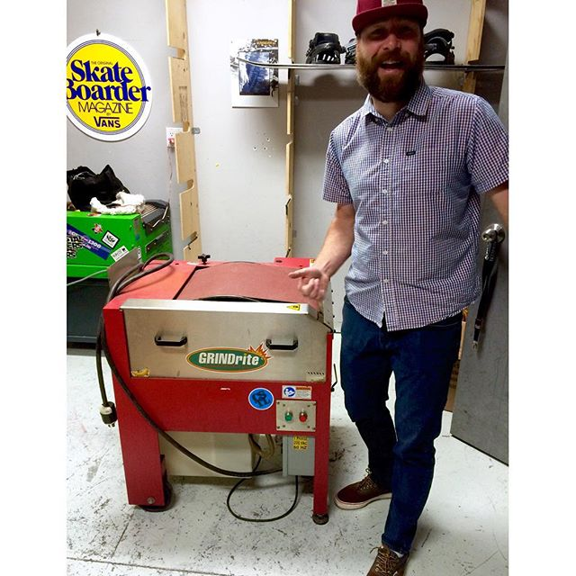 Dan approves of our new toy! We are pleased to offer base grinds this winter! #goFaster #coastalriders #baseGrinder