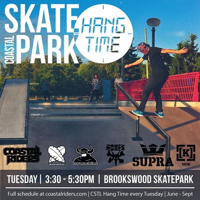 #CSTLHangTime is at #brookswood today! It starts at 3:30. Brought to you by @miamihighco @toymachine @boneswheels @suprafootwear @kr3wdenim and #CoastalRiders #CSTL #skateboarding.