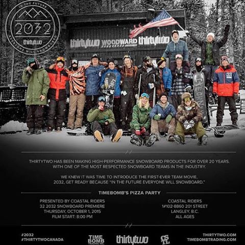 Don't forget! The @thirtytwo movie #2032 premier is happening tomorrow night here at the shop. Free food starts at 7:00 and the showing is at 8:00. Come check it out and meet some 32 team riders! #coastalriders #thirtytwo #oversizedflannelsonly