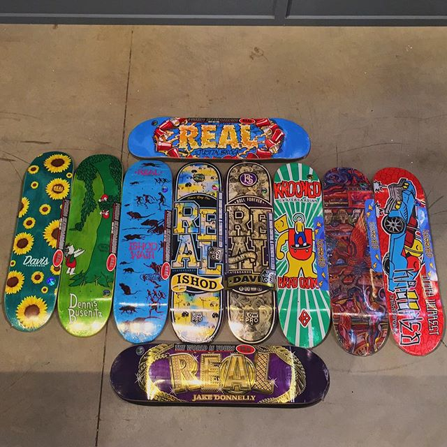 New @realskateboards and @krooked decks on the wall. Come grab one before the HangTime today which is now going to be at the CLOVERDALE SKATEPARK due to possible rain @supradist #CSTL #HangTime #Skateboarding