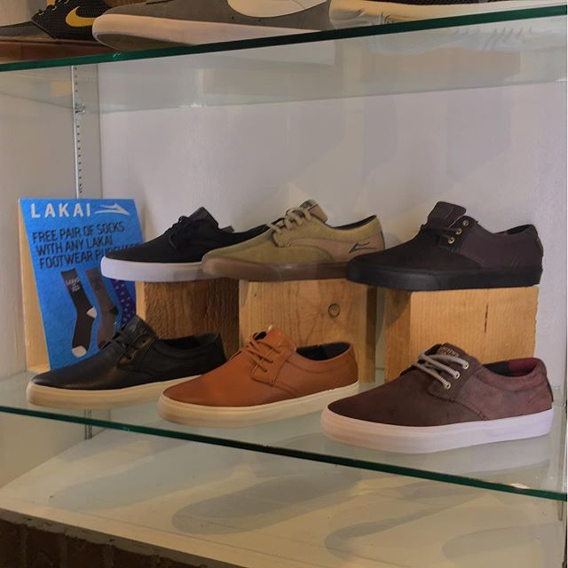 We got 3 awesome styles in from @lakailtd right now. Come grab a pair and get free lakai socks to go with them!