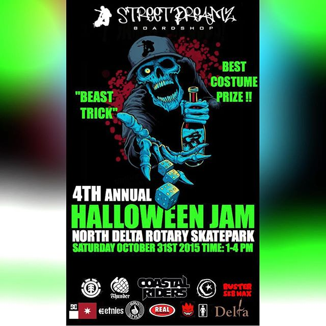 This Saturday we will be teaming up with @streetdreamzboardshop for the fourth annual north delta Halloween jam. Best trick format and best costume prize. 1-4 at north delta skatepark sat oct 31st