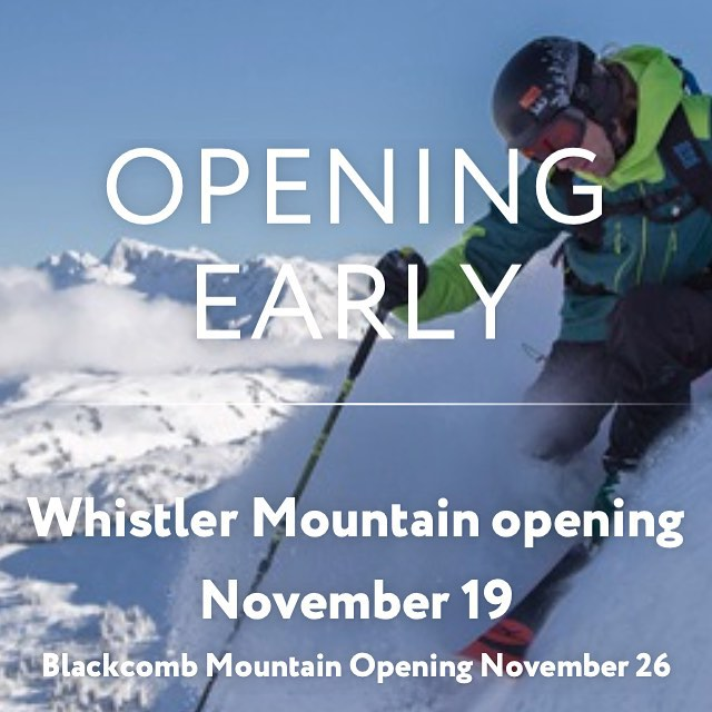 @whistlerblackcomb just announced an early opening for the season. Next Thursday should be one for the books! Don't forget our Pre season sale is still on with a huge selection of 2015 gear on clearance! #WHISTLER #CSTL