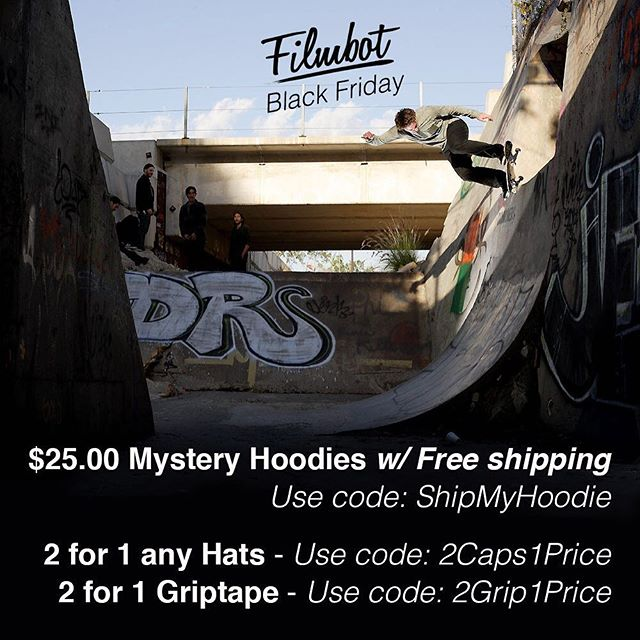 Our friends over at @filmbotgrip are having a Black Friday sale, 25$ hoodies with free shipping! 2for1 hats and 2for1 grip tape. Just use the codes listed!