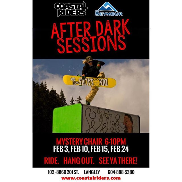 Join us up at Seymour for our #AfterDarkSessions! First one is happening tomorrow night at mystery chair 6-10pm. Looking foreword to seeing you up there! @mtseymour