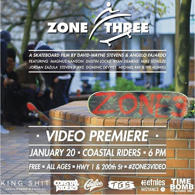 @zone3_video Premier Tomorrow Wednesday January 20th at the shop!! Starts at 6pm @timebombtrading @kingshitmag @cariboobrewing @instancesocks @etniesskateboarding