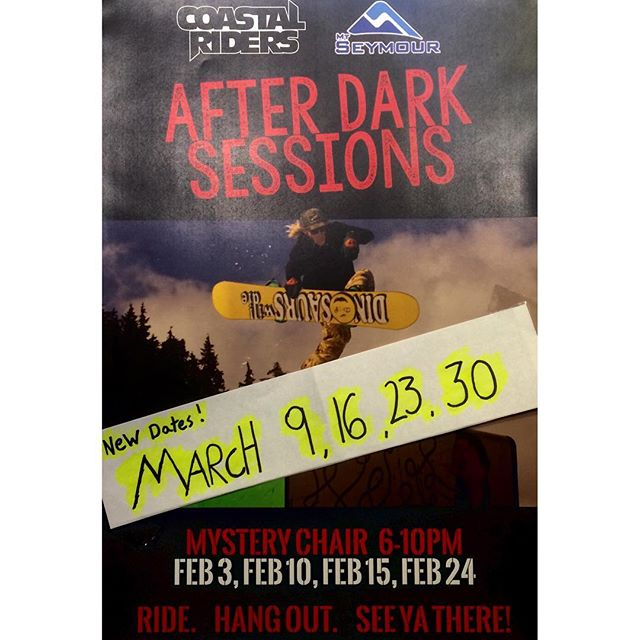 Updated dates for our March hang times. Join us at @mtseymour for our #AFTERDARKSESSIONS March 9, ,16, 23, 30!