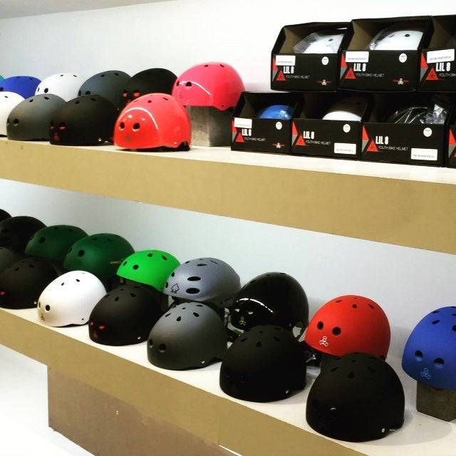 We are loaded up with helmets thanks to @triple8nyc ☠ Keep that noggin' working and grab one today!