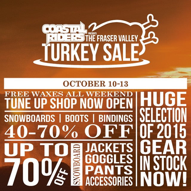 We're going strong with the #CSTLturkeysale today. Massive savings on snowboard gear. Up to 70% off boards, bindings, boots, outerwear, and more. #snowboardsale #supportlocal #snowboarding
