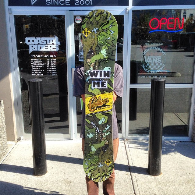 you could win this @cariboobrewing snowboard!! drop by the shop to learn how. #supportlocal #cariboo #campvibes