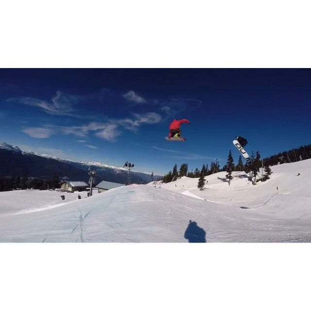 @thelsho and @rhethaubrich had the @whistlerblackcomb black park to themselves yesterday, so they had to share the filming duties. Mid jump line camera hand off. @deathlens @stepchildsnowboards @salmonarms @dc_snowboarding @whistlerparks