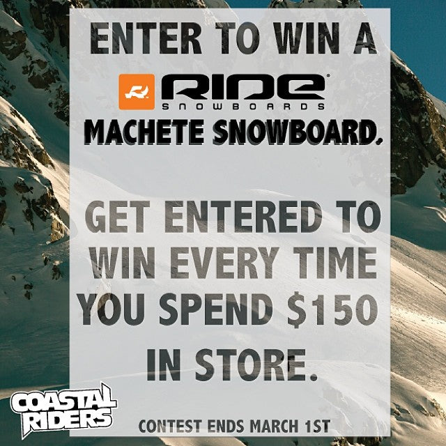 Want to win a new snowboard? Get entered to win a new @ridesnowboardscompany machete snowboard every time you spend $150 at Coastal Riders! cstl ridesnowboards. @bradheppnerphoto photo. @jrhagency