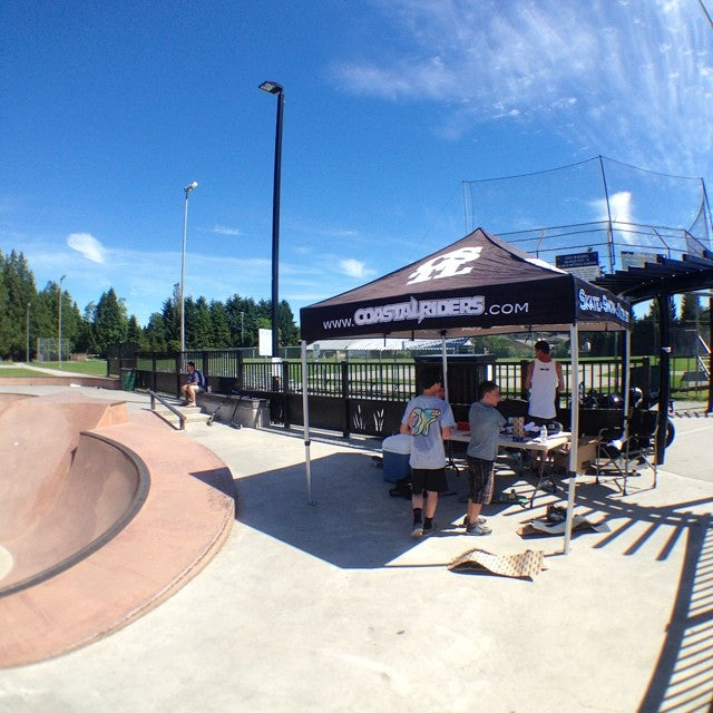 @coastalriders hang time going on now at Pitt park! come brave the heat and grab free stuff #swag #heat
