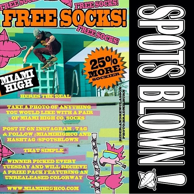 Nothing feels more like christmas then free @miamihighco socks. Here's how you win. Take a photo of anything with miamihigh socks in it. Tag and follow @miamihighco and spotsblown. That's it. Winners will be chosen every Tuesday. You could win a new unreleased colorway.