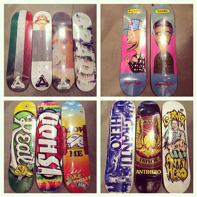 Tons of new skate stuff on the walls. New decks from @palaceskateboards @chocolateskateboards @realskateboards @antihero_wakebladez. beavisandbutthead