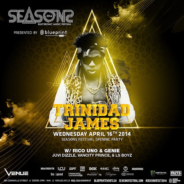 #TrinidadJames is in #vancouver tomorrow night. See him live at venue night club with @djseko. @blueprintlive #blueprintlive.