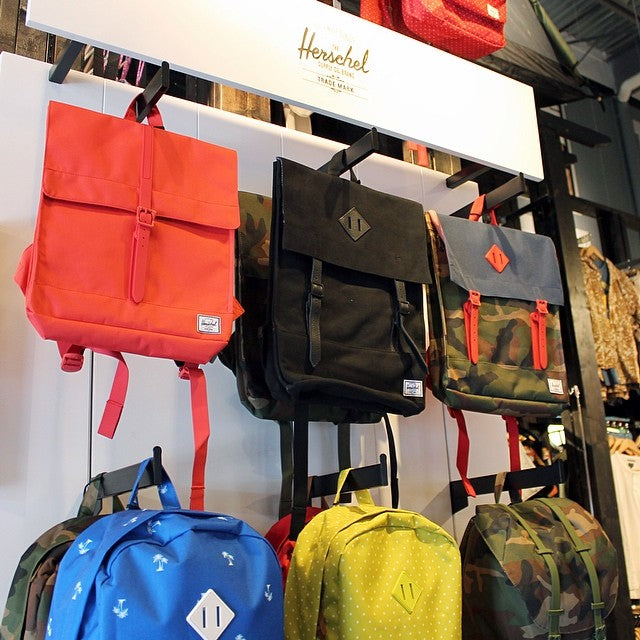 Bringing a little color to this rainy Saturday with these new bags from @herschelsupply  #herschel #backpacks #accessories #rainy #saturday