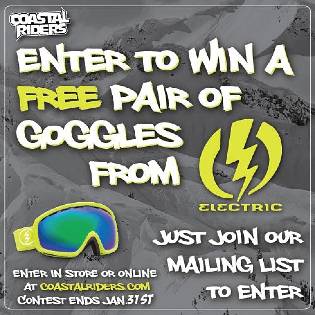 Join the @coastalriders email list to be entered to win this months Prize. A new pair of @electricvisual goggles. Join instore or at www.coastalriders.com.