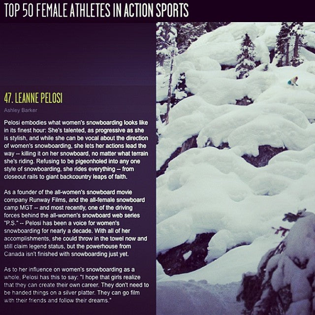 #coastalriders #snowteam rider @leannepelosi takes 47th in the Top 50 Female Athletes In Action Sports from @espn XGames.com. Congrats Leanne, #partyon!