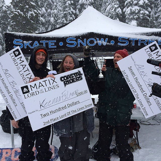 @matixclothing LordOfTheLines winners: @mattbutel (3rd) @sushi_suzuki (2nd) & @al_party (1st). Big thank you to @supradist @skullcandy @cariboobrewing and @mtseymour and their park staff!!