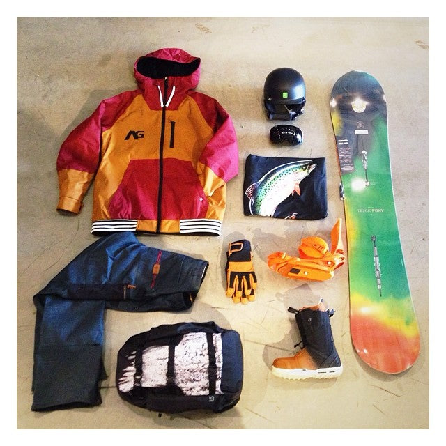 snowboarding essentials from @Burtonsnowboard. Come out for out burtonVIPnight tomorrow night for deals on 2014 burton gear, a chance to win a free snowboard and more. @analogclothing outerwear. anon helmet and goggles. trickpony snowboard ambush boots cartelest bindings