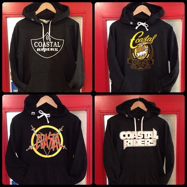 @coastalriders hoodies hit the shop floor today. get em while they're hot cause damn these go fast! $45 pull overs. slayer @cariboobrewing colab