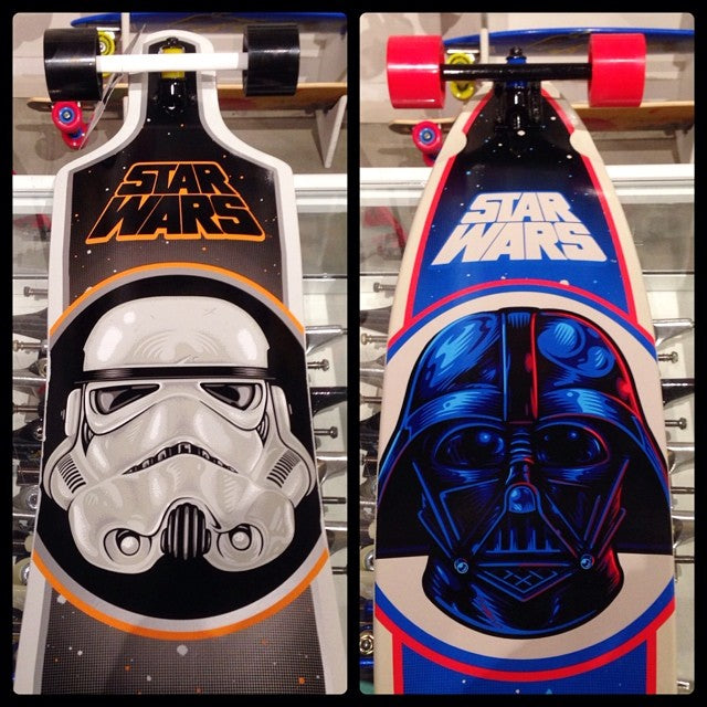 @starwars X @santacruzskateboards longboards in shop. perfect for cruisin around on a long weekend. $219.99 for storm trooper $209.99 for darth vader