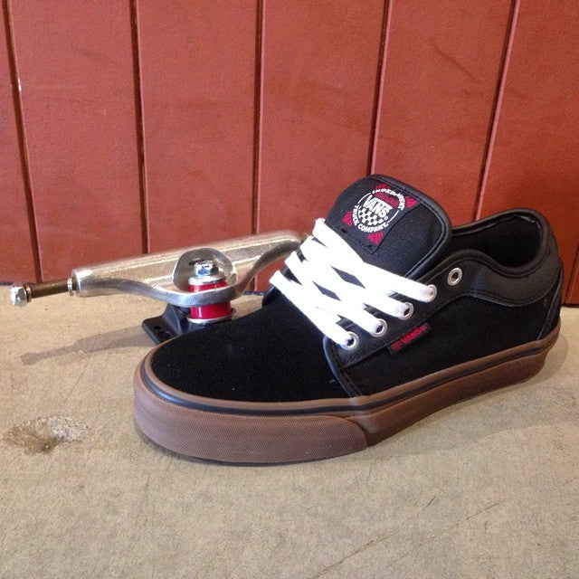 @vans x @independenttrucks #chukkalow new in shop as well as a slew of new trucks. #hollow indys shown. $74.99 for the shoe $64.99 for the trucks.