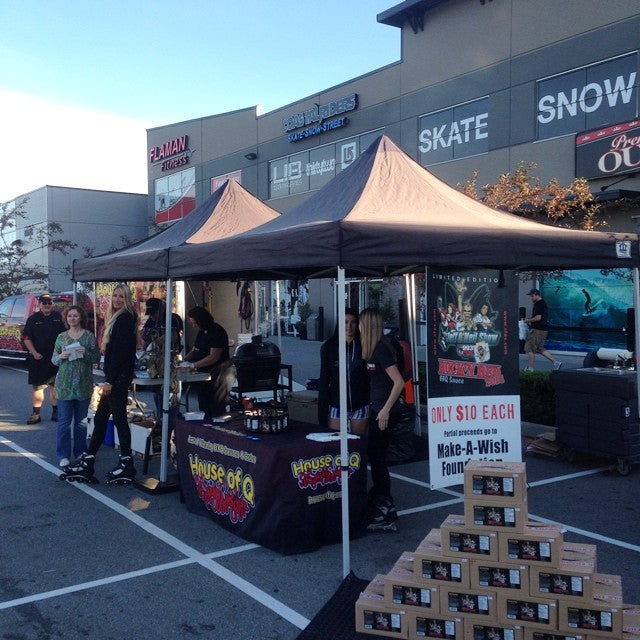 @993thefoxrocks and @house_of_q is posted up out front the shop. come grab a #FREE bacon breakfast sandwich. they're here till 10am.