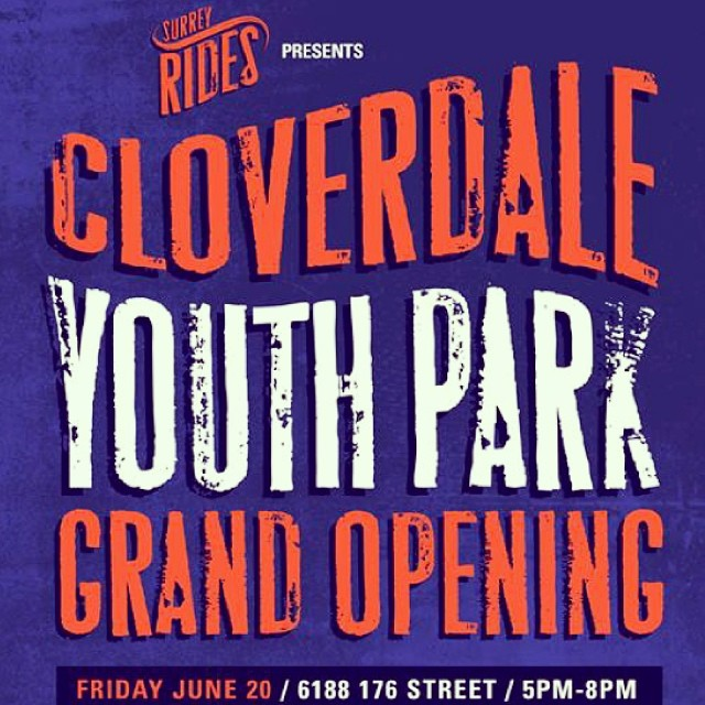 The #CloverdaleYouthPark Grand Opening is next Friday, June 20th! Come out between 5 & 8pm for a BBQ, good time, and skate demos from our team! #skatelife