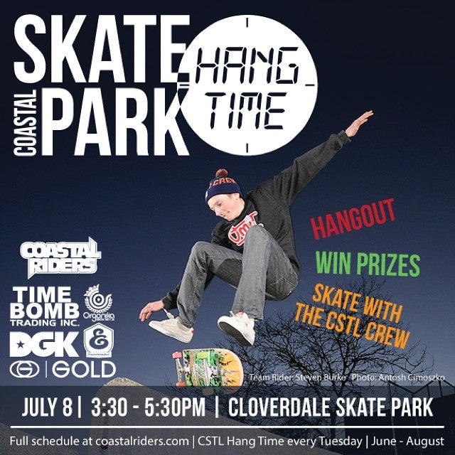 Come hangout tomorrow afternoon for #cstlhangtime! Meet the crew, win some prizes, join the fun. Prizes from @timebombtrading @dgk @goldwheels @expeditionone @organika and @coastalriders