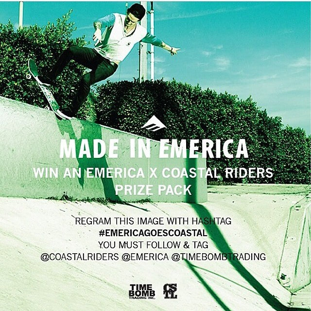 Last day to enter the #emericagoescoastal draw. Regram this image and follow and tag @emerica @timebombtrading and @coastalriders with the hashtag #emericagoescoastal to be entered to win an #emerica x #coastalriders prize pack. #madeinemerica.