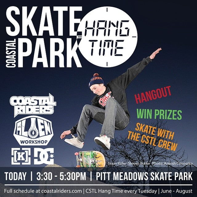 It's the second last #cstlhangtime. Today at #PittMeadows Skatepark from 3:30 - 5:30. Come skate with the coastal crew, win some prizes from @kr3wdenim @dcshoes @alienworkshop and #CoastalRiders.