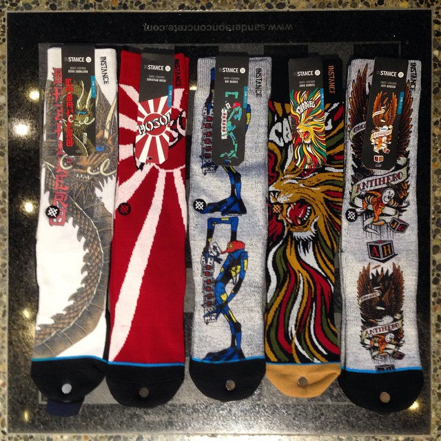 @stancesocks #skatelegends series new in shop. @steviecab @christianhosoi #raybarbee @_breakfree_ @grossosucks pro models available #supportlocal
