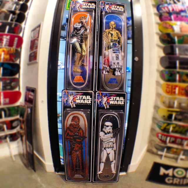 second set of @starwars X @santacruzskateboards decks in shop. choose from chewy, Luke, storm trooper, or the droids and deck out your wall!