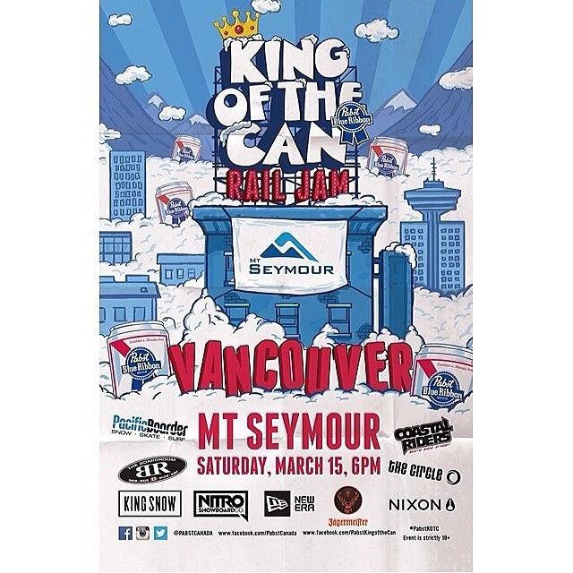 Get stoked for the @pabstcanada KINGOFTHECAN at @mtseymour next Saturday march 15. Watch the @coastalriders snow team take on the circle, the boardroom and pacific boarder in an all out battle in the park. After party @fortunesound. Free shuttle. Go on Facebook and RSVP attending to get a spot. pbr freebeer cstl @kingsnowmag @nitrosnowboards @nixon_now