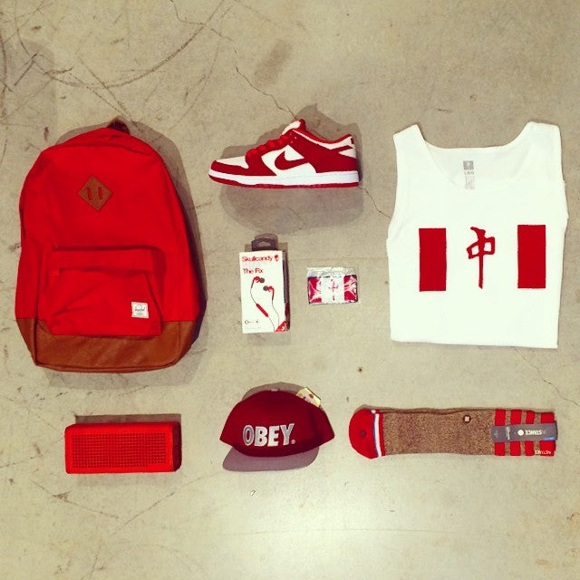 Get patriotic. #canadaday long weekend deals are on now. #wellpacked with @herschelsupply @nikesb @thereddragons @skullcandy @nixon_now @obeyclothing @stancesocks #allredeverything #canada #tentsale