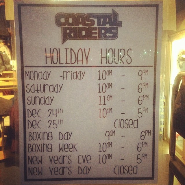 holidayhours were open till 9 every week night! get that Christmas shoppin done!