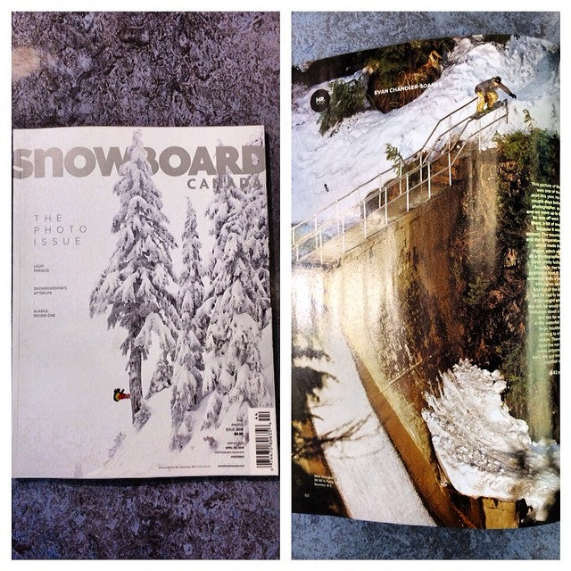 The new issue of @snowboardcanada just hit stands. @devwalsh is on the cover at @mtseymour and @mattheneghan is hitting a sketchy line at the dam shot by @ecsphoto.