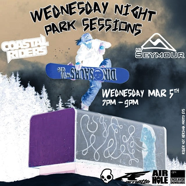 Don't forget about the Wednesday night park session happening at @mtseymour tonight! 7-9pm. Prizes from @endeavorsnow @airholefacemasks @arnette @skullcandy and @coastalriders. Be there cause Wednesdays are the new Fridays. Rider @hornapalooza. Photo @ecsphoto