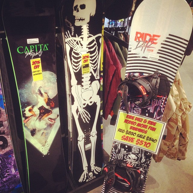 your board all bashed up from preseason? come grab a new one while the boxing week sales are still on. 20% off all 2014 boards and 2013 Ride DH2 with Ride Rodeo bindings for $340 for the whole setup!! massivedeals snowcoming areyouready?