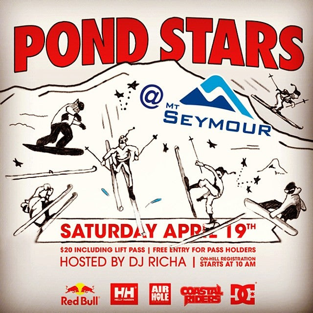 #pondstars at @mtseymour is this week Saturday with some wicked #prizes to be won. Dress up and get wet! More details on our website! Prizes from @coastalriders @dc_snowboarding @redbullcanada @airholefacemasks @hellyhansen