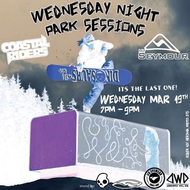 It's the last WednesdayNightParkSession at @mtseymour and this one is a doozie. @dinosaurs_will_die @iseyewear and @smithoptics is coming down for all you ski bro's. Sound by @skullcandy. 7-9pm in the pit park. freeprizes parkjamin dwd iseyewear coastalriders seymourreport rider: @hornapalooza photo: @ecsphoto