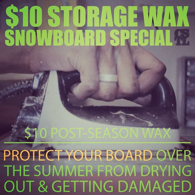 $10 snowboard wax special at the shop right now - protect your #snowboard over the summer until the #snow that we all love returns!