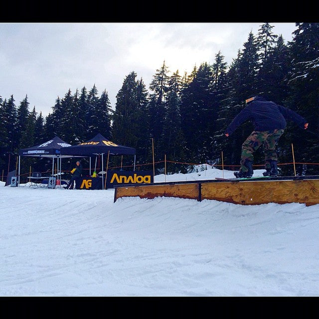 The @analogclothing #coastalriders #GOHUCKYOURSELF park session is about to get underway. @nickatmoore actually snowboarding. @mtseymour
