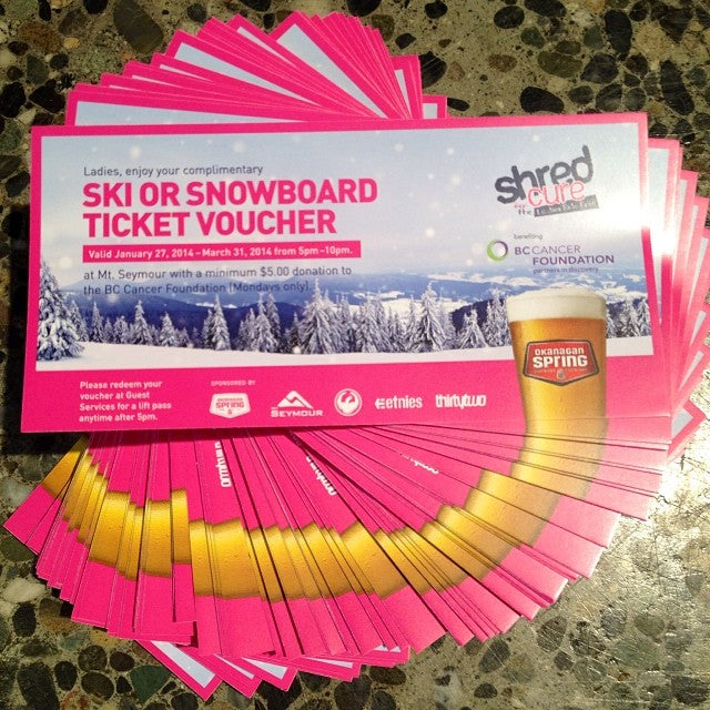 ladies take note! shred for a cure @mtseymour passes just got dropped off in shop. come pick one up to ride monday nights 5pm-10pm for a $5 donation to the bc cancer foundation. one per customer shredforacure foragoodcause getoutthere