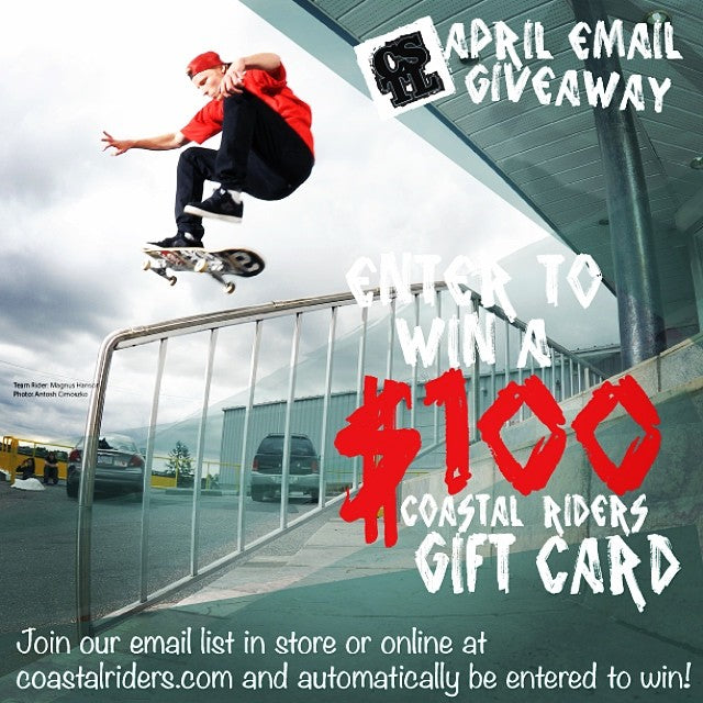 Up for grabs this month is a @coastalriders $100 #giftcard for a lucky person from our email list. Obvi you want to stay in the loop and get our emails so sign up at coastalriders.com to be entered!