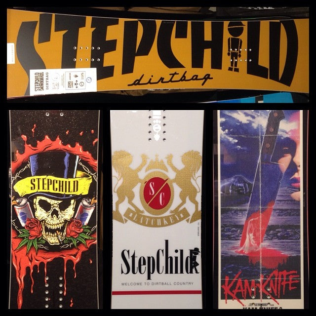 @stepchildsnowboards 2014 snowboards dropped today dirtbag emananderson @joesexton1817 pro latchkey kamknife sleazyrider get yours while they last cause these things go quick!! winterishere